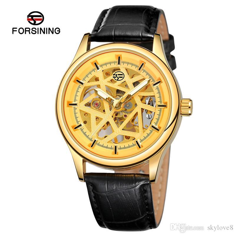 Les fabricants de gros montre d'affaires hommes ceinture pu marque creuse montre mécanique automatique montre sport imperméable et anti-choc