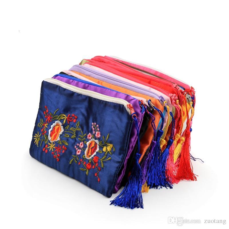 Двойной вышитый прямоугольник молния сумки портмоне партии пользу кисточкой атласная подарочная упаковка сумки женщины сотовый телефон кошельки 10 шт. / лот