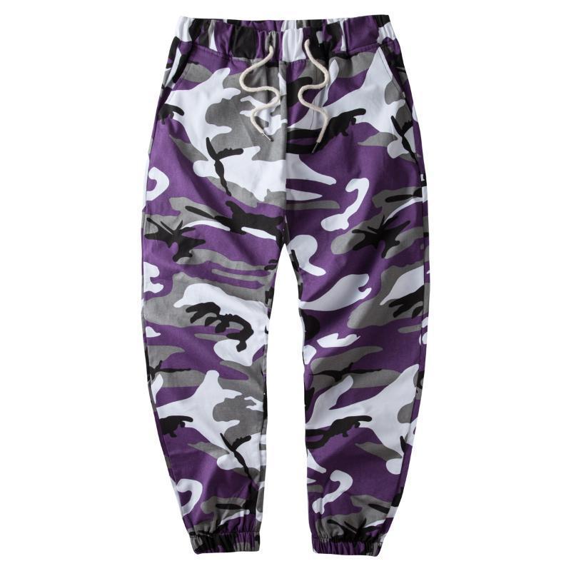 Ins naranja camuflaje del basculador de los pantalones de los hombres de Hip Hop tejidas pantalones casuales pantalones tácticos Bolsillos Algodón 2018 pantalones deportivos