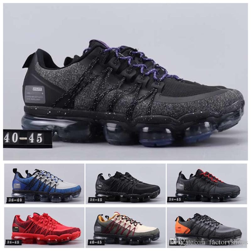 2019 Run Utility Homens Running Shoes melhor qualidade Azeitona Preta Antracite branca refletir Shoes desconto de prata Homens Mulheres Esporte Sneakers EUA 5-11