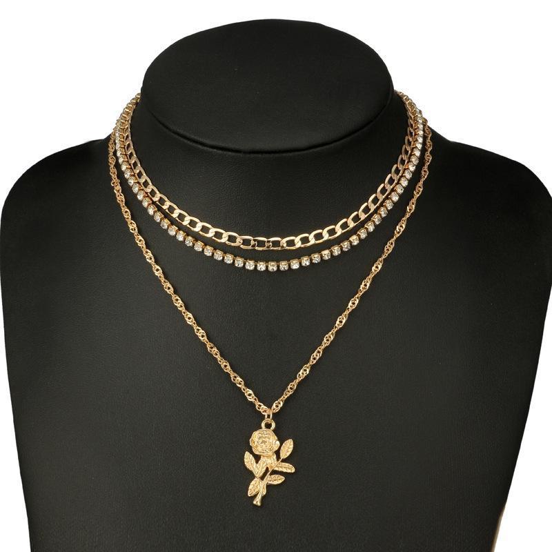 QUMORAIN mode bijoux en cristal de bohême choker fleur rose collier ensemble cadeau couches pour les femmes fille gros