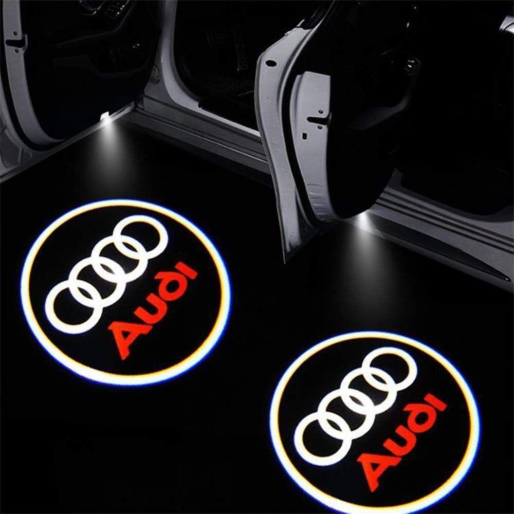 2 unidades de puerta de coche se enciende el proyector logotipo de bienvenida llevó luces de la lámpara de la sombra del fantasma para Audi A3 A4 A5 Q5 Q7 TT A8 A1 A8L A6L Q3 R8