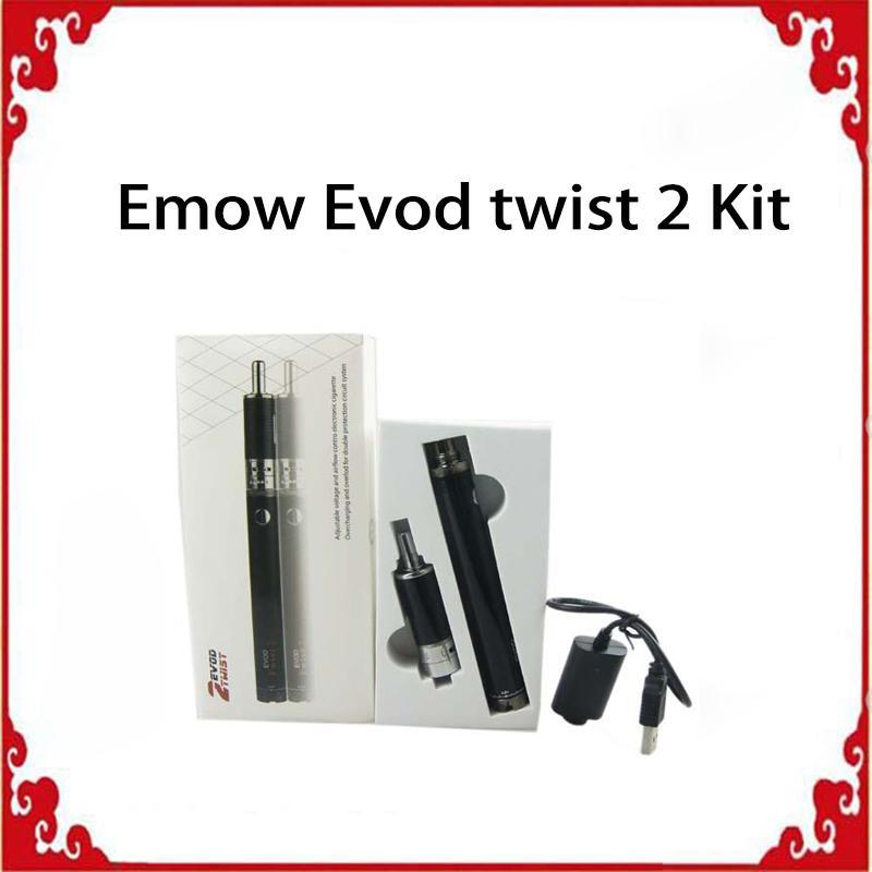 Evod Twist 2 emow mega kit electronic cigarette 1650mah evod twist 2 Emor vaportank kit e cig vape vaporizer pen DHL free