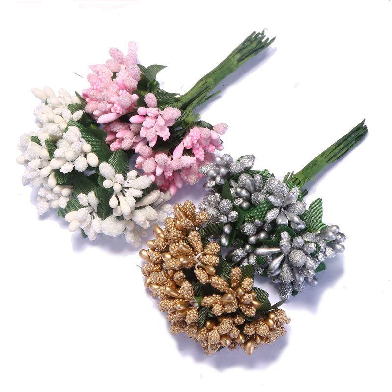 12PCS/lot Mulberry Party Artificial Flower Stamen Wire Stem Marriage Leaves Stamen Wedding Box Decoration Flower Hot Sale