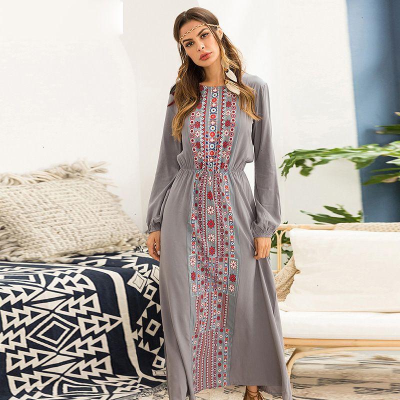 De vestir de manga larga Ropa mujeres se visten de largo otoño geometría de la vendimia impresión del modelo Holiday Beach vocación vestido gris de manga larga