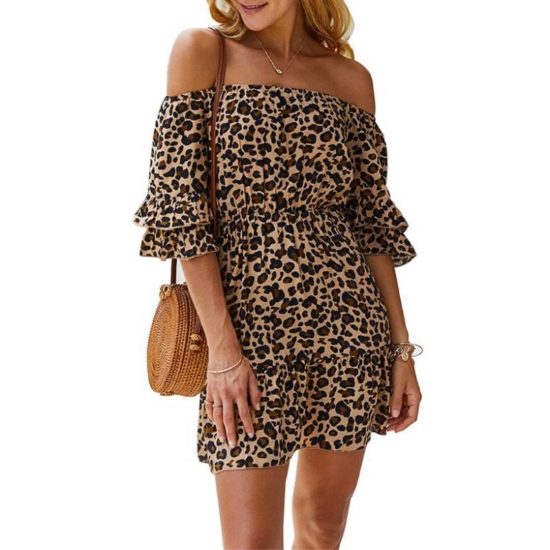 Signore sexy fuori dalla spalla del leopardo della stampa Vestito estivo Beach di estate delle donne casuale Ruffle breve vestito delle donne mini abiti femminile Vestidos