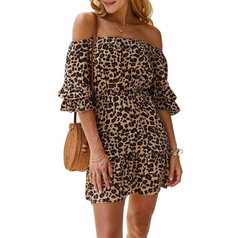 Damen Sexy weg von der Schulter-Leopard-Druck-Kleid-Frauen-beiläufigen Rüsche Kurzsommerkleid-Sommer-Frauen-Strand-Minikleider Weiblich Vestidos