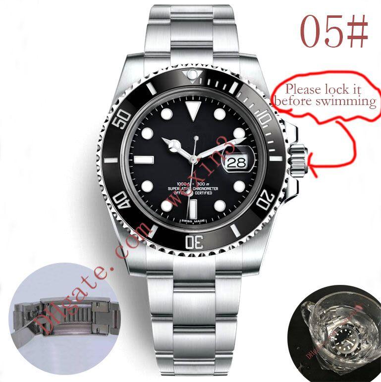 20 Colors Luxury Watches Green Black Ceramic Bezel Dial 40mm 2813 Automatic Stainless Steel Bracelet Glide Lock Clasp waterproof Men Watch
