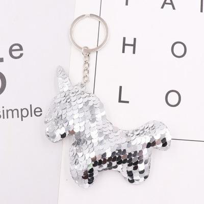 Llavero de la estrella del unicornio animal llavero del brillo de las lentejuelas Pompón Llavero Regalos para las mujeres del bolso la llave del coche del anillo de alta calidad