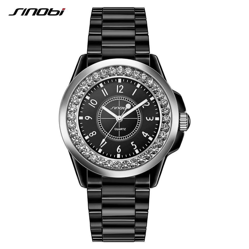 SINOBI Мода женщин Алмазы наручные часы Имитация керамики ремешок Top Luxury Brand платье дамы Женева кварцевые часы 2018