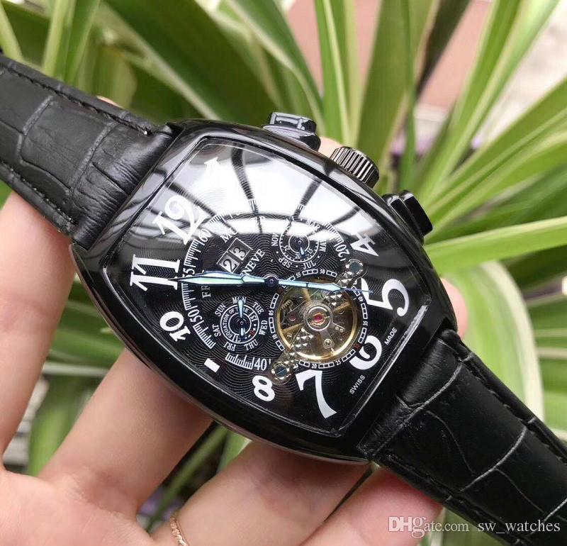 탑 럭셔리 Relojes Mujer 최신 브랜드 패션 비즈니스 남성용 시계 Precise tourbillon 자동식 기계 가죽 스트랩 손목 시계