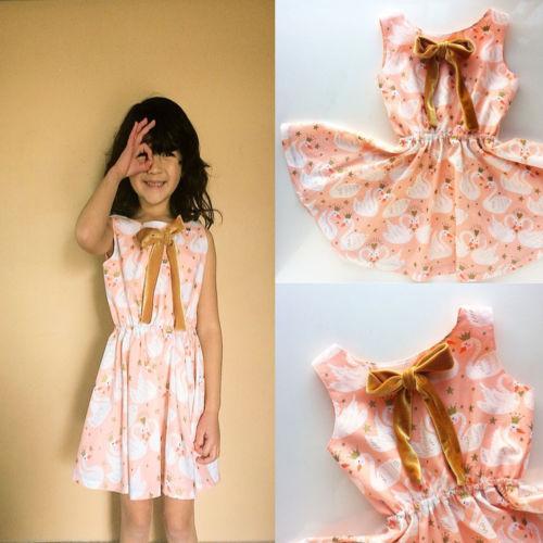 Лето New Kids Girls Оранжевый лебедь платье ребёнков рукавов Лебедя Пачка платье принцессы партии Детские платья Мода
