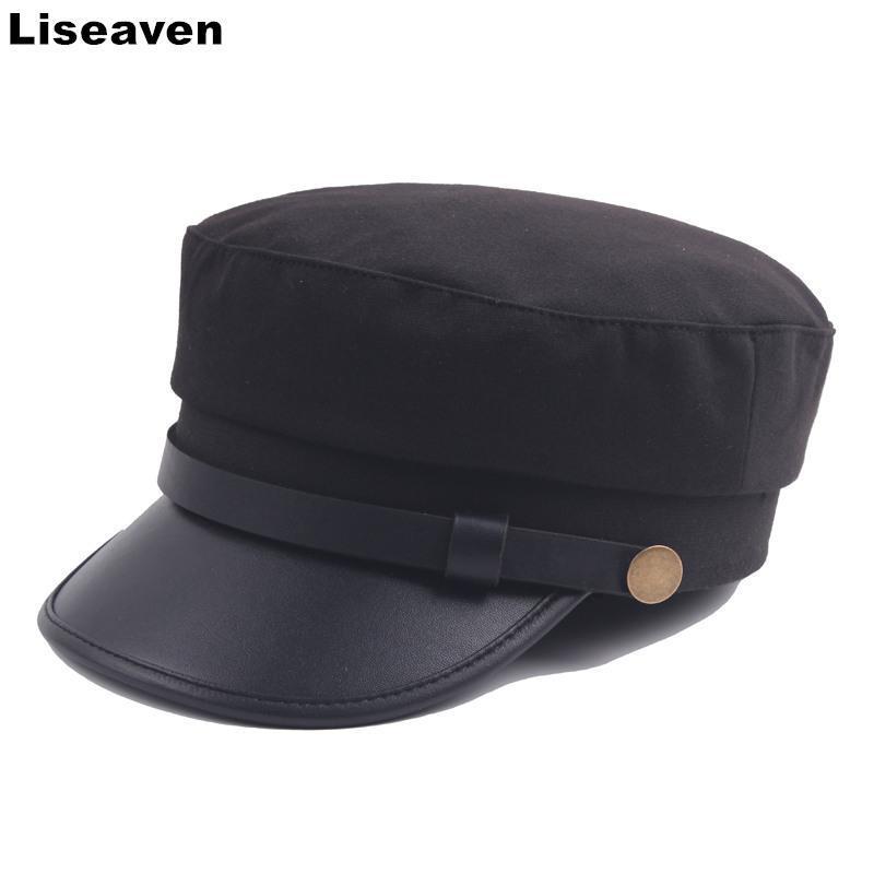 Liseaven Kadınlar Düz Cap Unisex Bere Şapka Moda Deniz Kuvvetleri Hat Sonbahar Kış Yeni Casual Katı Renk Bereliler Caps