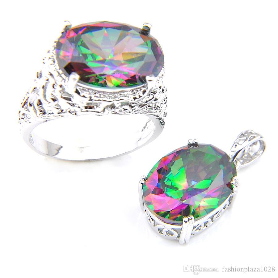 Luckyshineの女性の結婚指輪のペンダントは楕円形の天然の神秘的なTopaz 925シルバーペンダントネックレスを設定します