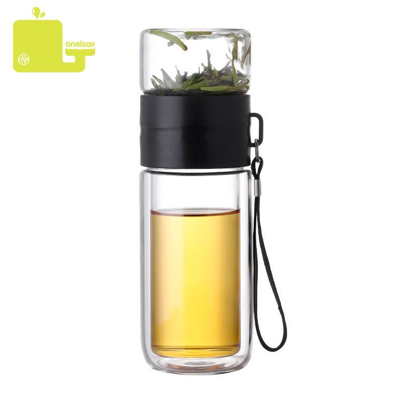 225ml + 125ML стеклянная бутылка двухслойного чая вода Разделительных Стеклянные бутылки из нержавеющей стали чай Partition бутылки с