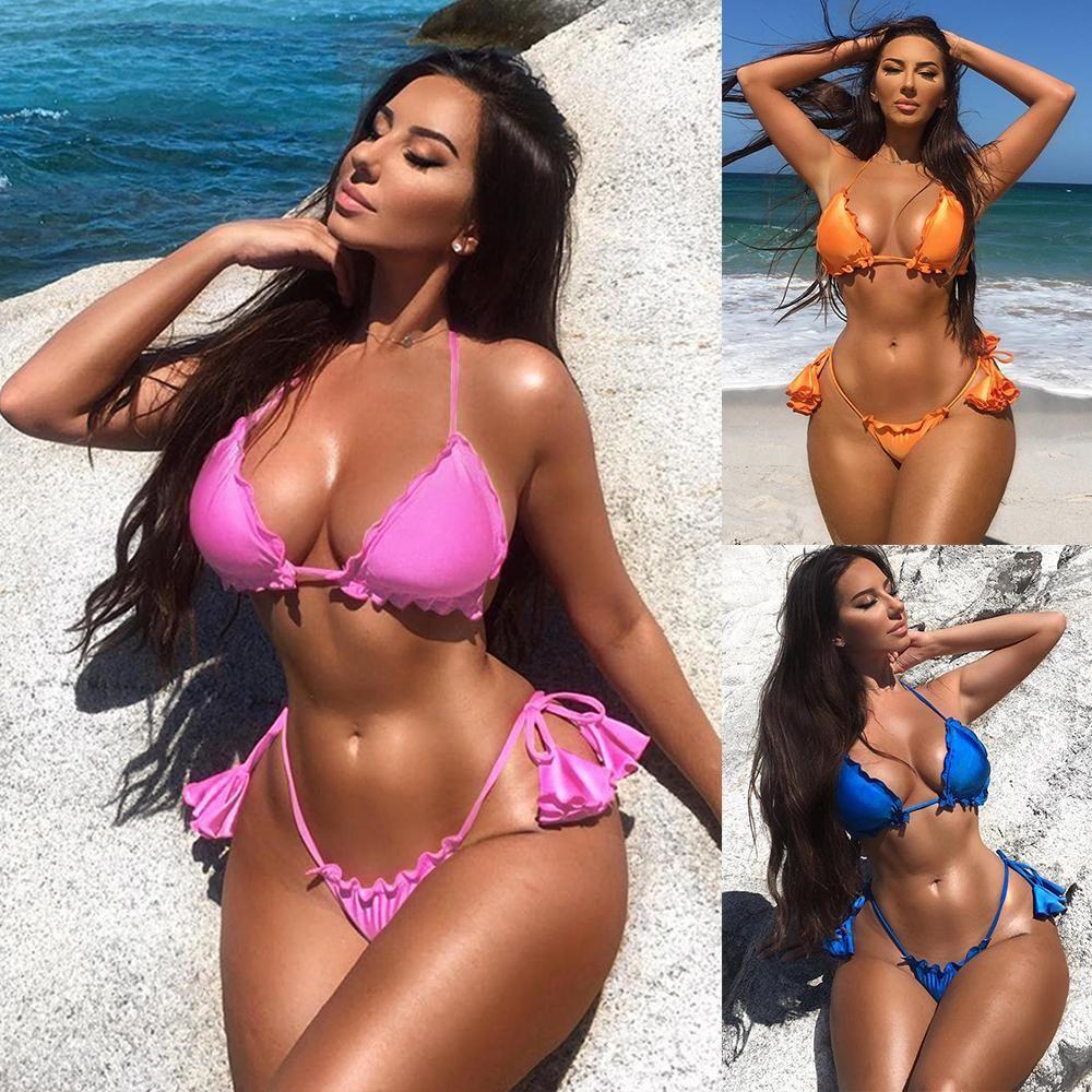 Горячий сексуальный мигающий двухсекционный сплошной цвет бандаж бикини дизайнерский бюстгальтер женщины купальный костюм пляжная одежда горячая продажа бесплатная доставка