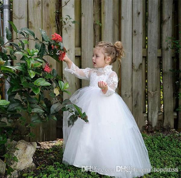 Blanco marfil precioso princesa niña de las flores vestidos de cuello alto 3/4 largo Ilusión partido de la manga de encaje de tul con gradas del cumpleaños Vestidos Vestidos