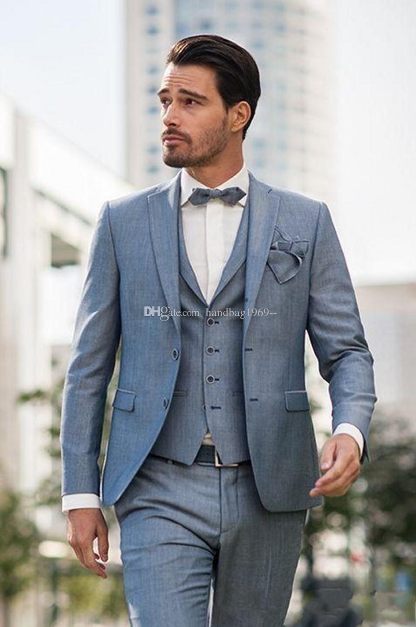 Hohe Qualität Zwei Buttons Graue Bräutigam Smoking Kerbe Revers Groomsmen Herren Anzüge Hochzeit / Prom / Abendessen Blazer (Jacket + Pants + Vest + Tie) K146