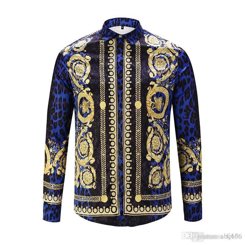 2019 camisas de vestir de los hombres a estrenar de moda Harajuku ocasional de la camisa de los hombres de lujo de la medusa Negro de lujo del oro 3D Imprimir delgado apto de las camisas