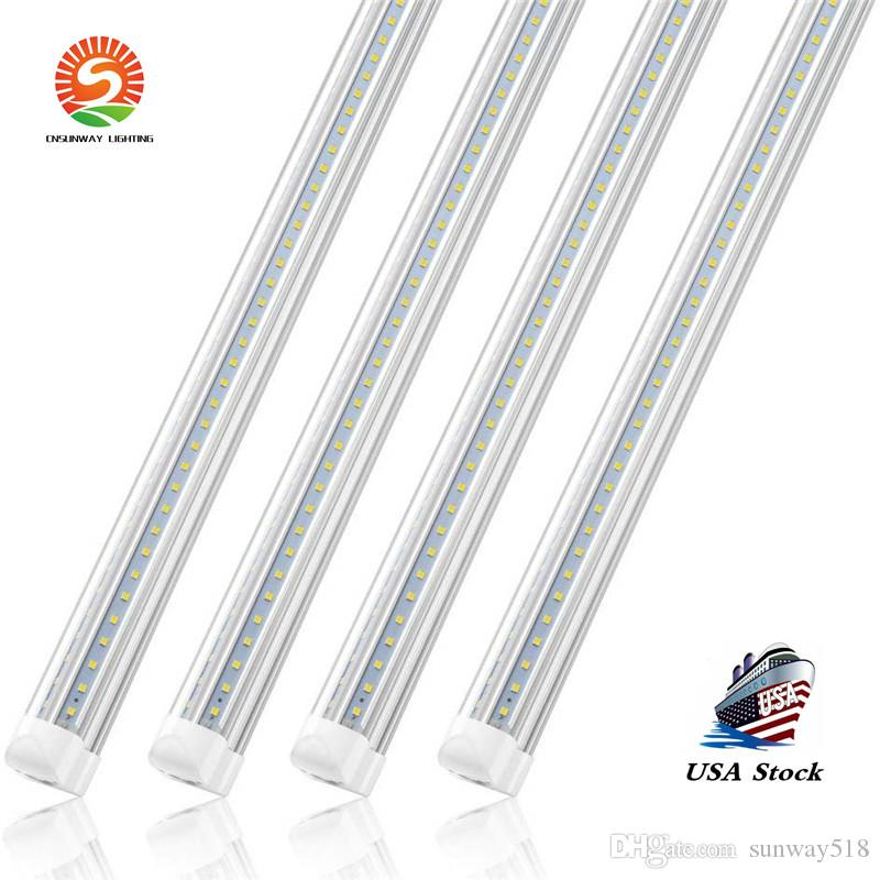 Stock In US + 2ft 4ft 5ft 6ft 8ft LED Tubes lights V Shape Integrated LED Tubes 8 ft Cooler Door Freezer LED Lamps