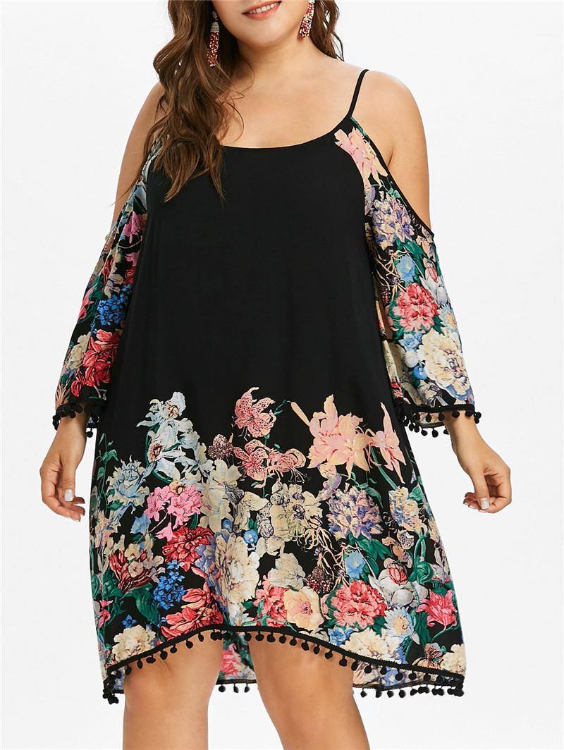 2020 Womens Designer Blumenmuster-Kleid-Sommer plus Größe lose Leibchen trägerlose beiläufige Kleider Damen Kleidung