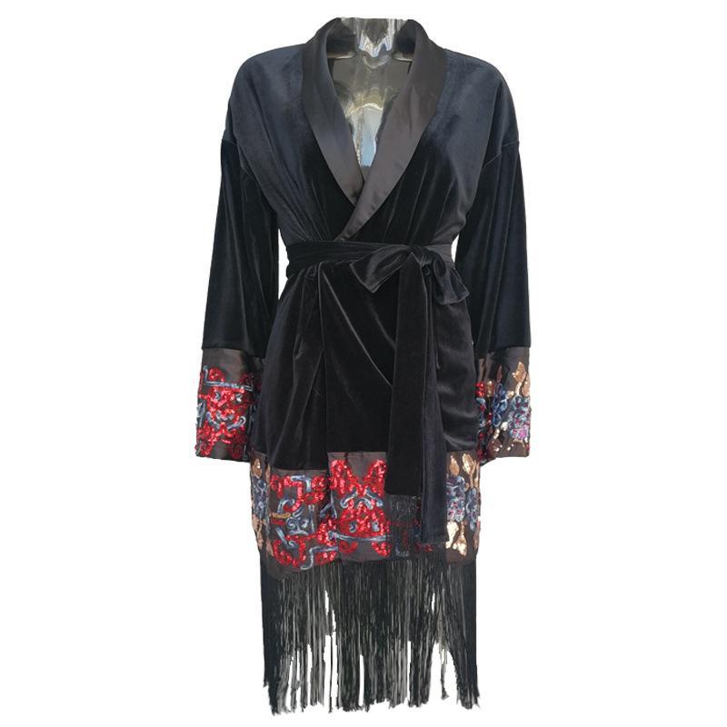 2020 Escudo Gabardina Mujer Terciopelo Outwear otoño del resorte de la rebeca de la borla de las capas de las mujeres con cinturón bordado de la vendimia