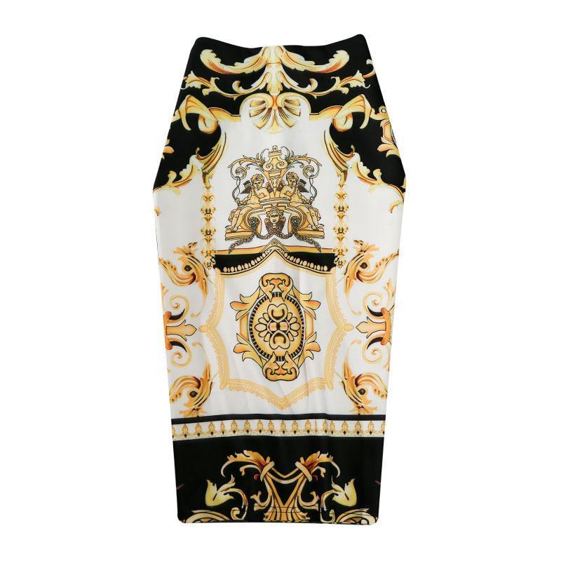 New-Coming европейских женщин лето печати юбка-карандаш высокого Stretch абстрактный узор Midi скольжению Hip юбка Женский GD030 T200525