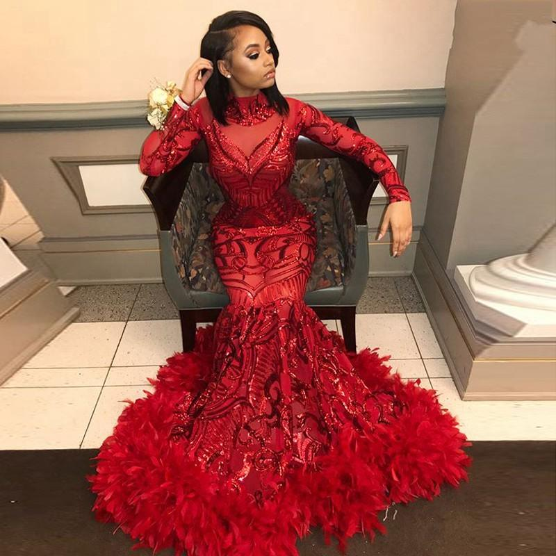 2020 Shiny Blingbling Feather Sequins Long Sleeves Evening Prom Dresses Mermaid High Neck Evening Gowns Vestidos de festa