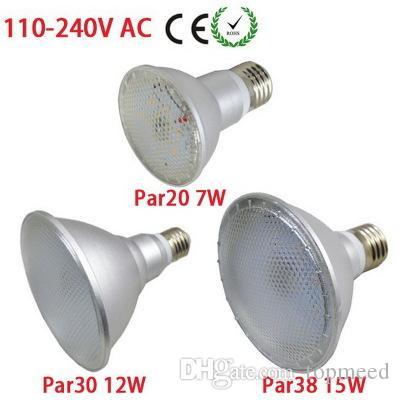 DHL 선박 IP65 방수 PAR20 PAR30 PAR38 E27 LED 110V-240V 7W 12W 15W 디 밍이 가능한 천장 조명 스팟 조명 LED 전구