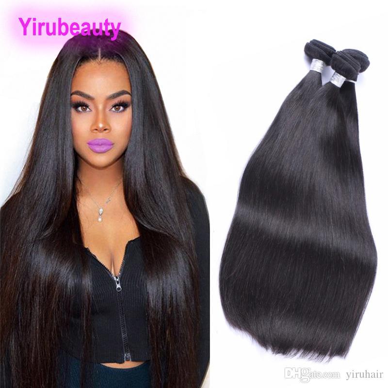 Vierge Brésilienne Cheveux humains 2 Bundles Straight Cheveux Body Wave Double Coiffures Extensions Naturelles Couleur 95-100g / Pièce