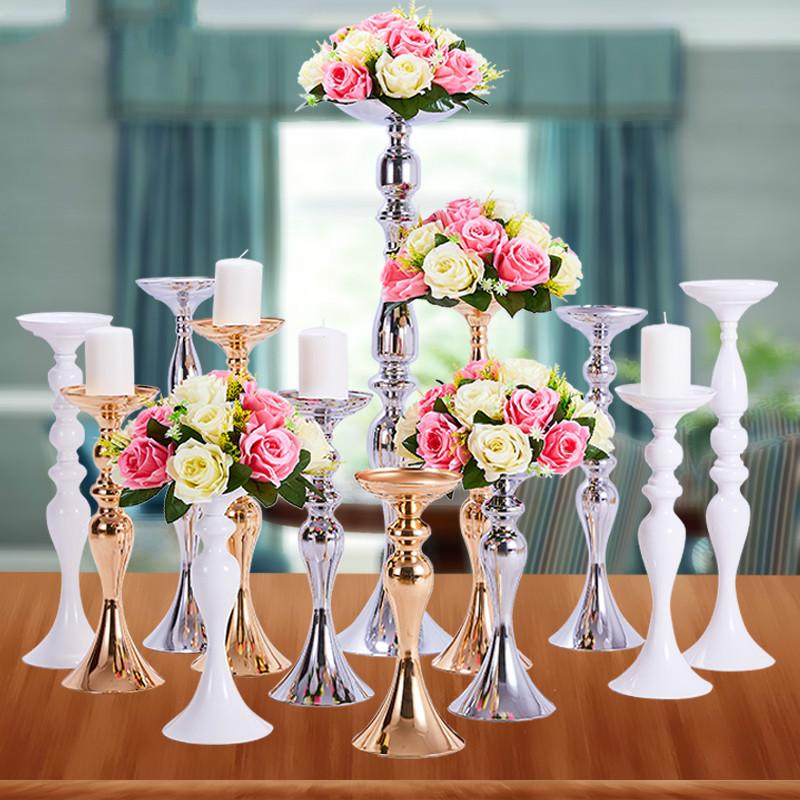 Candle Holders Stand Column Candlestick Event Road Lead Flower Vase Rack Table Wedding Centerpieces Party Dinner Decor