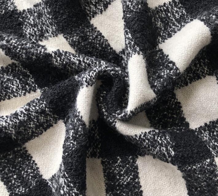 Thick black white checkered circles Yarn-dyed wool fabric Christmas dress coat printing super hollandais sequin textiles diy fabric C984