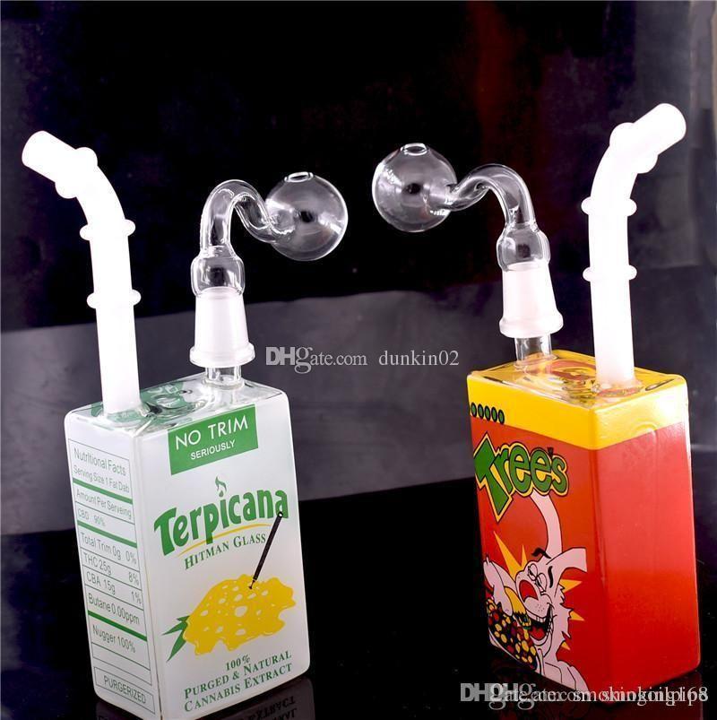Tubos de cristal Hitman agua líquida Caja Recycler plataformas petrolíferas Bong Bong 14mm vaso de precipitados de vidrio con tubo del quemador de aceite de cristal libre de DHL