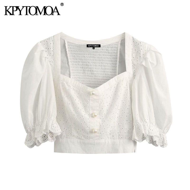 KPYTOMOA Frauen 2020 Mode Aushöhlen Stickerei Beschnitten Blusen Vintage Hauchhülse Perle Tasten Weibliche Shirts Chic Tops