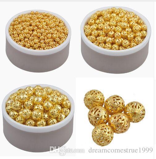 500 قطعة / الوحدة سبائك الذهب اللون غرامة الفضاء فضفاض الجوف الخرز سحر بالجملة 4 6 8 10 ملليمتر