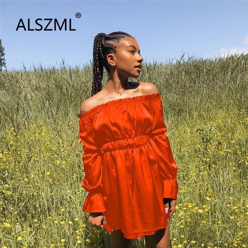 2020 speciale estate sexy di design fuori dal vestito spalla semplici donne della vita di colore solido del vestito di modo delle donne signora stile da spiaggia
