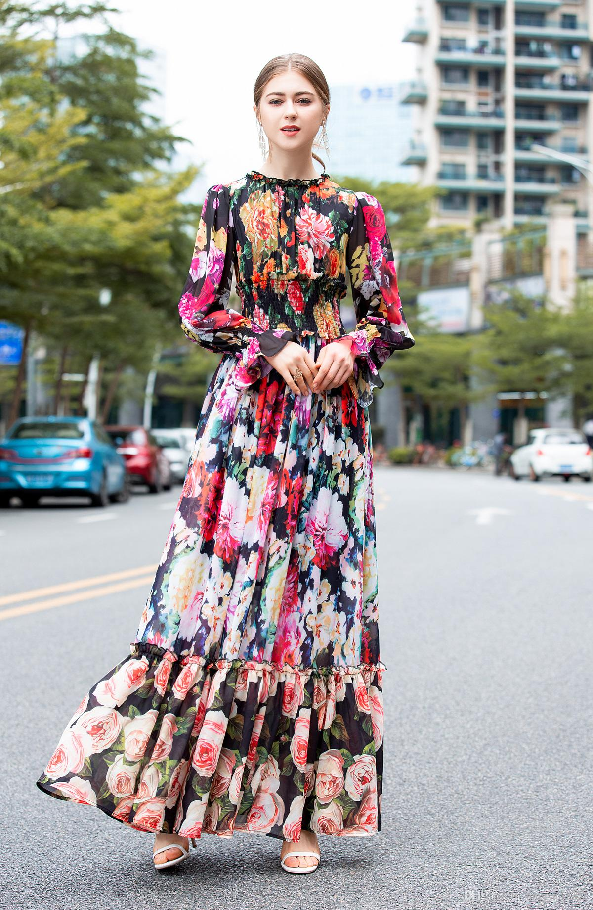 407 2019 Free Shipping Wedding Dress Crew Neck A Line Empire Prom Luxury Dress Ankle Length Long Sleeve Silk Polyester AS
