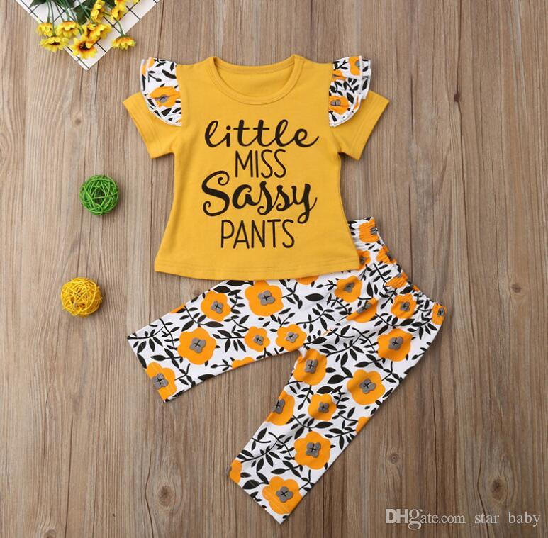 3d2d5b85 ... 2019 new children girls clothes set Little miss sassy pants yellow  flower short sleeve kids clothing ...