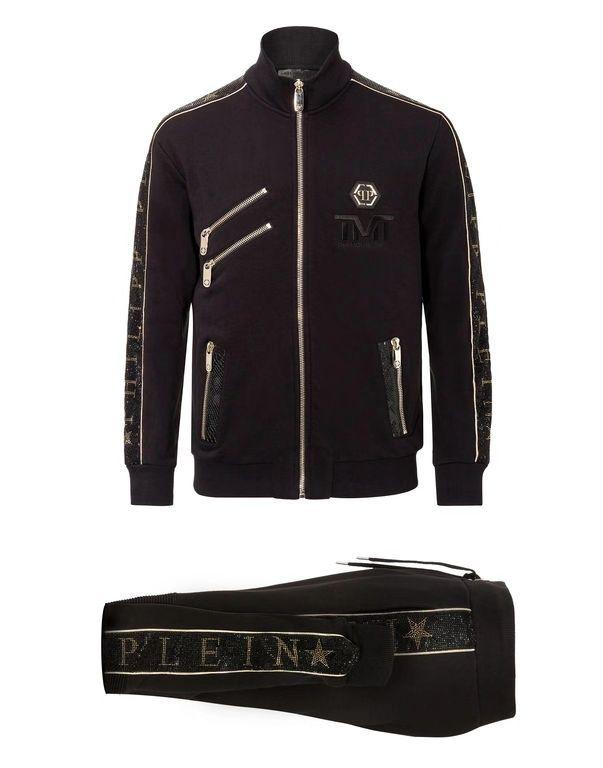 (20) 전년 동기 대비 남성의 필립 일반 슬림 럭셔리 스포츠웨어를 인쇄 남성 스포츠 정장 편지를 실행 긴 소매 운동복 재킷 세트 패션에 맞는