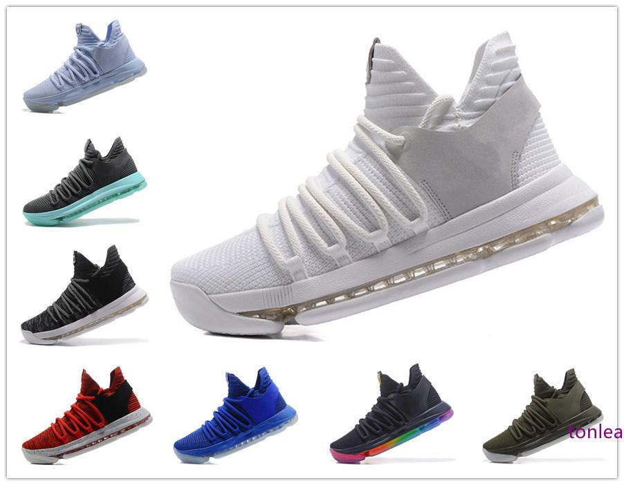 KD10 chaussures de basket-ball noir blanc chrome gris bleu rouge Igloo Olive Oreo université rouges taille des hommes PE BETRUE anniversaire de US7-12