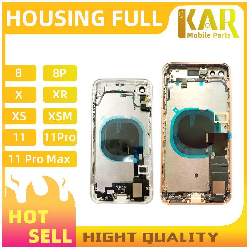 1 pc para iphone 8 8g 8p 8plus x xs xr xsmax 11 conjunto de porta da bateria de montagem de habitação completa traseira com campainha cabo flexível frete grátis