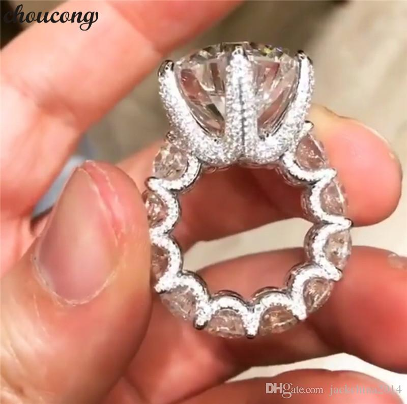 Choucong Benzersiz Vintage Takı 925 Ayar Gümüş Büyük Yuvarlak Kesim Beyaz Topaz CZ Elmas Promise Kadınlar Düğün Gelin Yüzük Sevgilisi Hediye Için