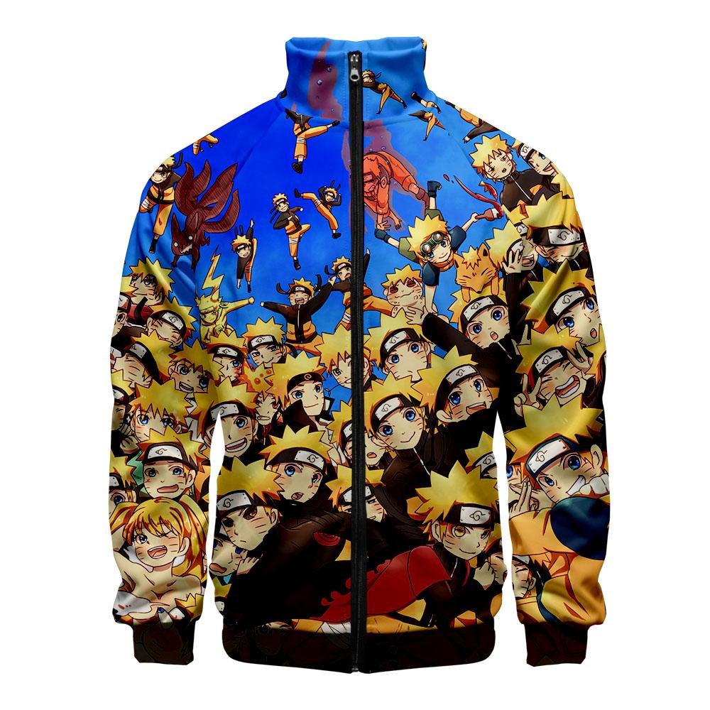 Autumn Winter Anime Naruto 3D Stand Collar Zipper Coats Women Men Kpop Harajuku Hip Hop Streetwear Jacket Clothes