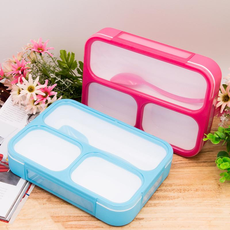 1000ml Healthy Plastic Lunch Box With Spoon Leak-Proof Microwave Partition Bento Box Food Container Adults Lady Kid Lunchbox