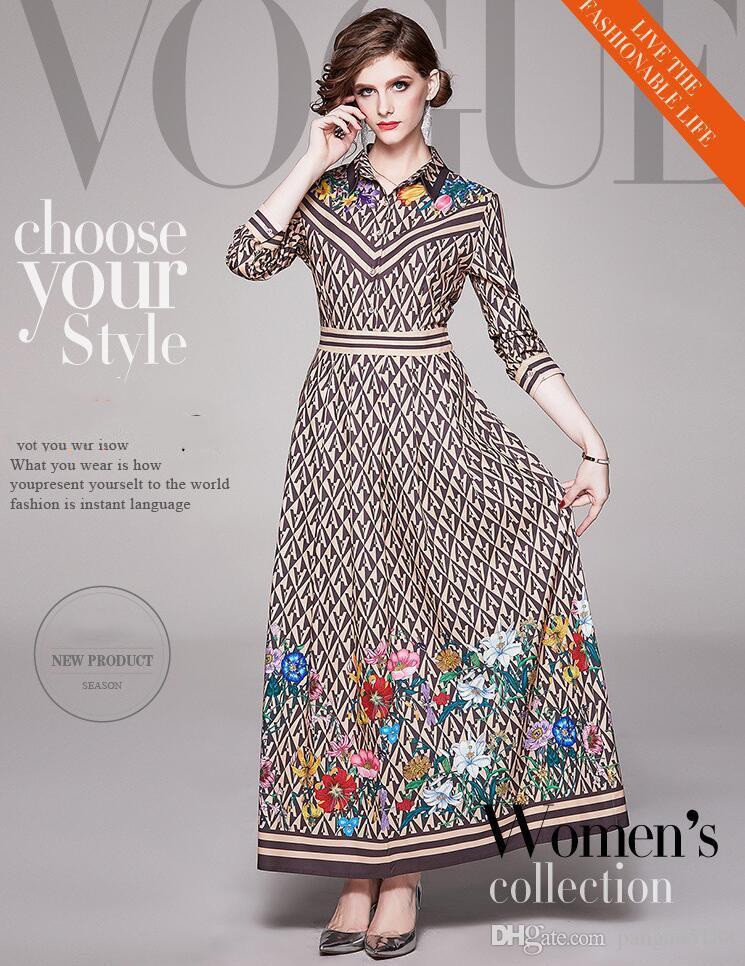 vêtements pour femmes à la mode européenne et haut de gamme de style américain à manches longues Lapel lettre bande robe femmes de fleurs