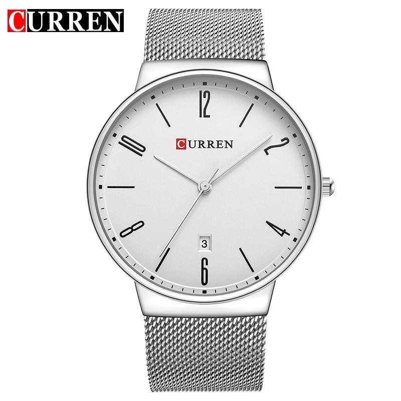 CURREN модные повседневные классические деловые мужские часы ультратонкий дисплей дата наручные часы полный стальной кварцевые водонепроницаемые мужские часы