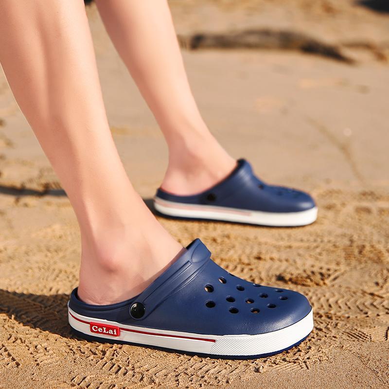 Zapatos agujero de agua para los hombres sandalias de la playa del Aqua deslizadores de los zapatos transpirable luz al aire libre Piscina de verano informal Mar Pesca