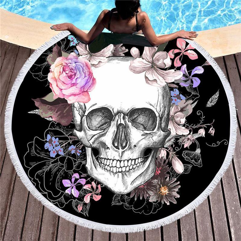 여성이 큰 목욕 수건을 두꺼운 해변 라운드 3d 설탕에 두개골 인쇄 비치 타월 직물 빠른 압축된 태피스트 요가 매트