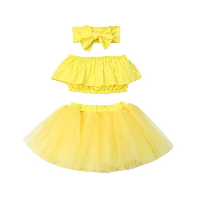 3PCS طفل الاطفال طفلة تتسابق الملابس مجموعات الأصفر سترة بلا أكمام بلايز + التنورة توتو + العصابة مجموعة
