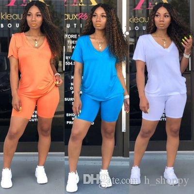 2019 new Simple Women Two Piece Shorts Sets Sexy solid 2 Piece Style Clothes Designer Women Set Women Tracksuit
